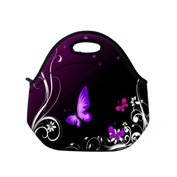 Termotaška Huado z neoprénu- Purpuroví motýlci