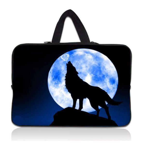 """Taška Huado pro notebook do 10.2"""" Vlk vyjící na měsíc"""