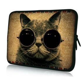 """Pouzdro Huado pro notebook do 12.1"""" Kočka s brýlemi"""