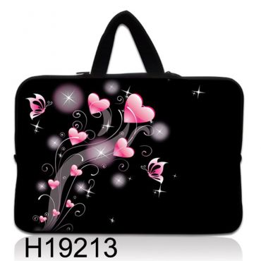 """Taška Huado pro notebook do 12.1"""" Růžové srdíčka"""