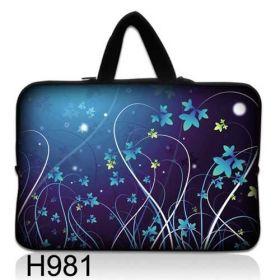 """Taška Huado pro notebook do 12.1"""" Modré květy"""