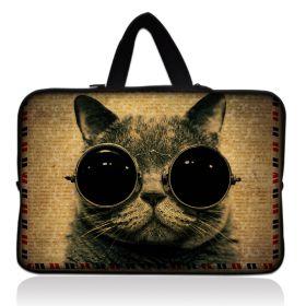 """Taška Huado pro notebook do 12.1"""" Kočka s brýlemi"""