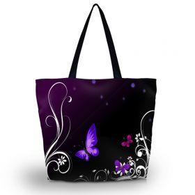 Nákupní a plážová taška Huado - Purpuroví motýlci