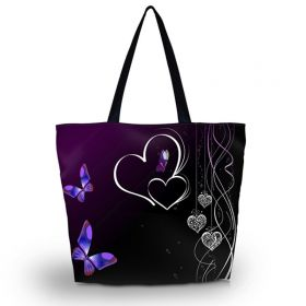 Nákupní a plážová taška Huado - Dvojité srdce