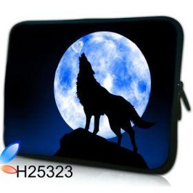 """Pouzdro Huado pro notebook do 17.4"""" Vlk vyjící na měsíc"""