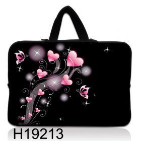 """Taška Huado pro notebook do 17.4"""" Růžové srdíčka"""