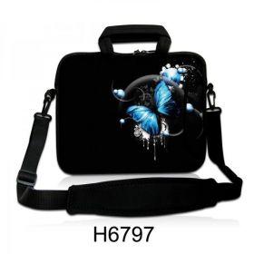 """Taška přes rameno Huado do 17.4"""" Modrý motýl"""