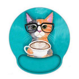 Huado ergonomická podložka pod myš Kočka s kafé