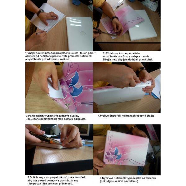 """Samolepka, skin Huado pro notebook 12""""-15,6"""" Modré květy"""