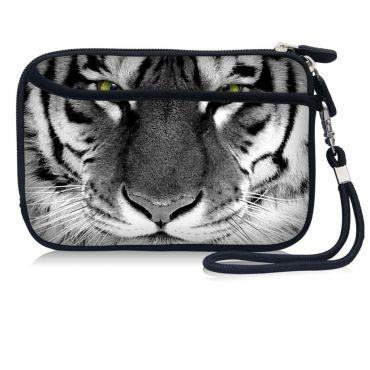 Pouzdro a peněženka Huado na mobil Tygr černobílý